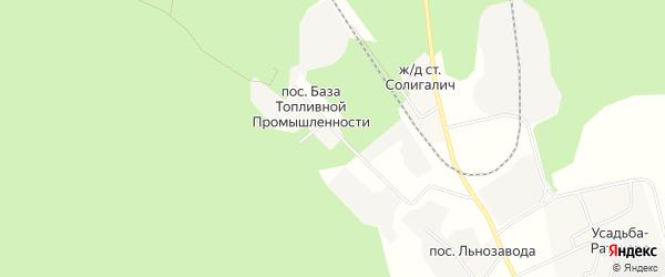 Карта поселка База Топливной промышленности в Костромской области с улицами и номерами домов