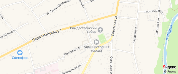 Первомайский переулок на карте Уварово с номерами домов