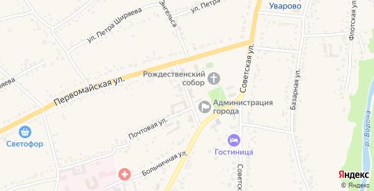 Первомайский переулок в Уварово с номерами домов на карте. Спутник и схема онлайн