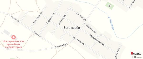 Солнечная улица на карте хутора Богатырева Ростовской области с номерами домов