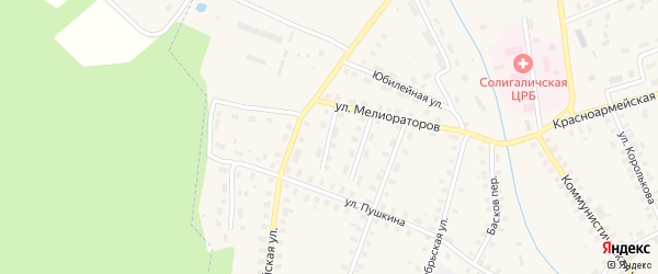 Красноармейский 2-й переулок на карте Солигалича с номерами домов