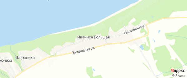 Садовое товарищество Контакт-4 на карте Иваниха Большей деревни Ивановской области с номерами домов