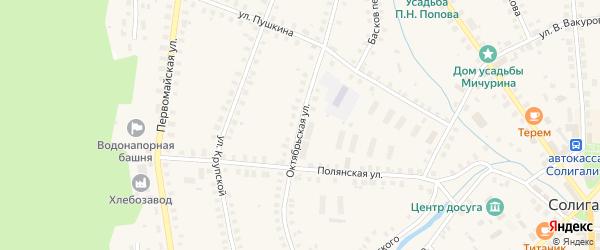 Октябрьская улица на карте Солигалича с номерами домов