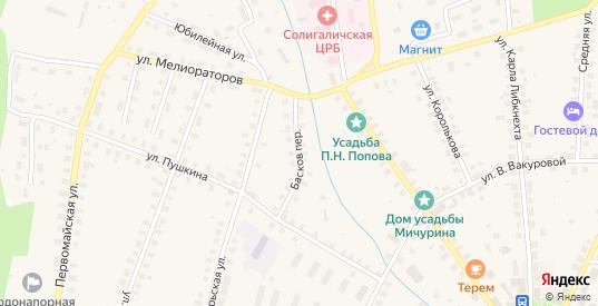 Переулок Басков в Солигаличе с номерами домов на карте. Спутник и схема онлайн