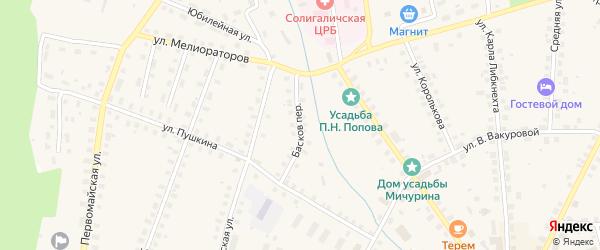 Переулок Басков на карте Солигалича с номерами домов