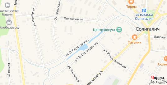 Улица В.Серогодского в Солигаличе с номерами домов на карте. Спутник и схема онлайн