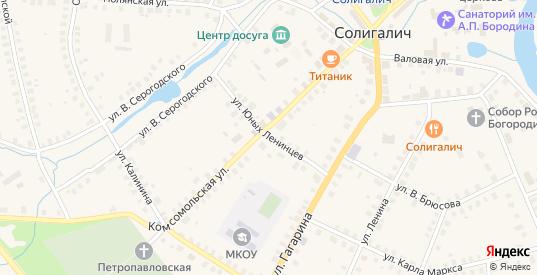 Улица Юных Ленинцев в Солигаличе с номерами домов на карте. Спутник и схема онлайн
