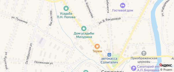 Коммунистическая улица на карте Солигалича с номерами домов