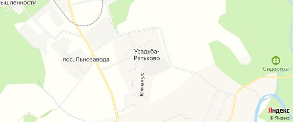 Карта поселка Усадьба-Ратьково в Костромской области с улицами и номерами домов