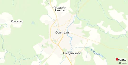Карта Солигалича с улицами и домами подробная. Показать со спутника номера домов онлайн