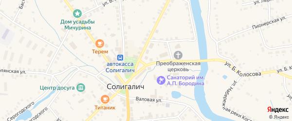 Красная площадь на карте Солигалича с номерами домов