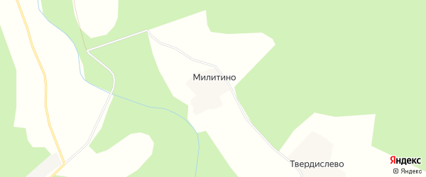 Карта деревни Милитино в Костромской области с улицами и номерами домов