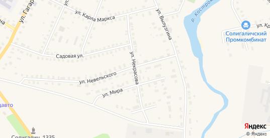 Улица Некрасова в Солигаличе с номерами домов на карте. Спутник и схема онлайн