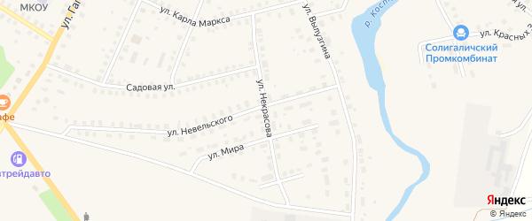 Улица Некрасова на карте Солигалича с номерами домов