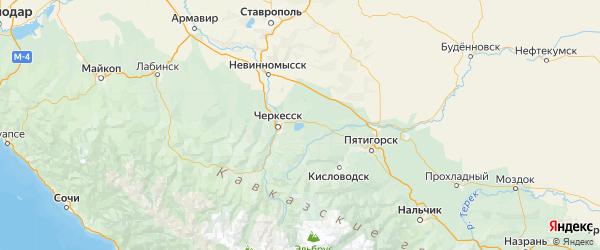 Карта Прикубанского района Республики Карачаево-Черкесии с городами и населенными пунктами