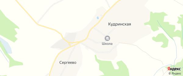 Территория Родина на карте Кудринской деревни Вологодской области с номерами домов