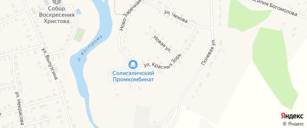 Улица Красных Зорь на карте Солигалича с номерами домов