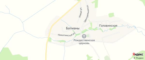Карта села Батманов в Ивановской области с улицами и номерами домов