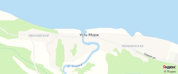 Карта деревни Усть-Моржа в Архангельской области с улицами и номерами домов