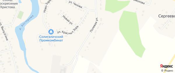 Полевая улица на карте Солигалича с номерами домов