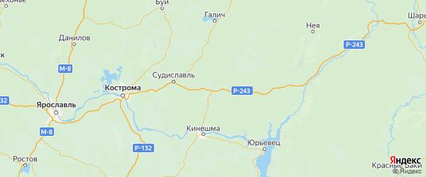 Карта Островского района Костромской области с городами и населенными пунктами