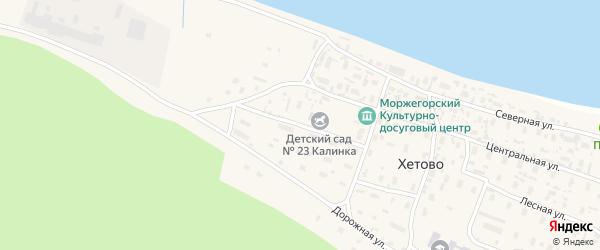Комсомольская улица на карте поселка Хетово Архангельской области с номерами домов