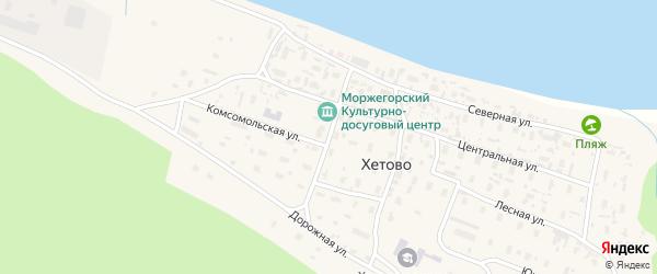 Октябрьская улица на карте поселка Хетово Архангельской области с номерами домов