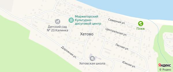 Школьная улица на карте поселка Хетово Архангельской области с номерами домов