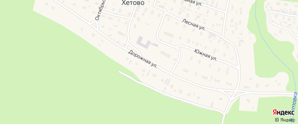 Дорожная улица на карте поселка Хетово Архангельской области с номерами домов