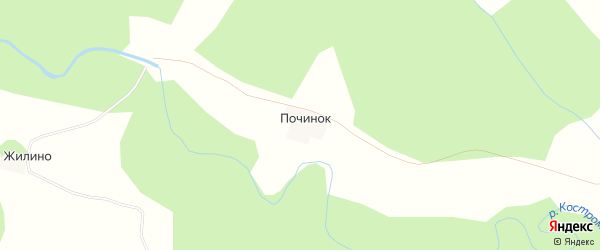 Карта деревни Починка в Костромской области с улицами и номерами домов