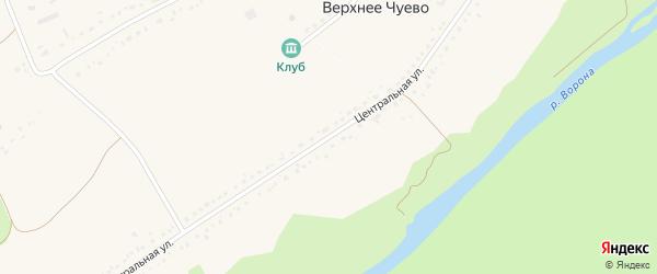 Центральная улица на карте села Верхнего Чуево Тамбовской области с номерами домов
