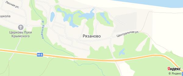 Карта поселка Рязаново в Архангельской области с улицами и номерами домов