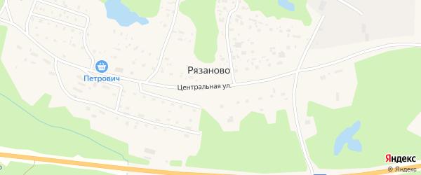 Центральная улица на карте поселка Рязаново Архангельской области с номерами домов
