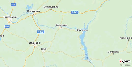 Карта Кинешемского района Ивановской области с городами и населенными пунктами