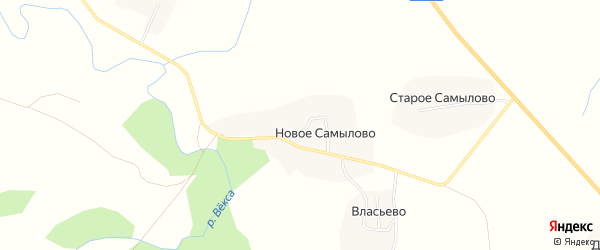 Карта деревни Новое Самылово в Костромской области с улицами и номерами домов