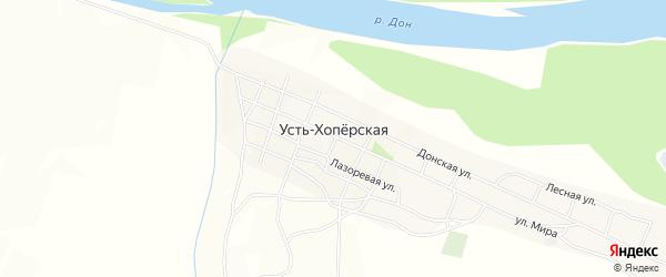 Карта Усть-Хоперской станицы в Волгоградской области с улицами и номерами домов