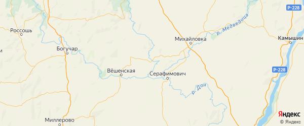 Карта Кумылженского района Волгоградской области с городами и населенными пунктами