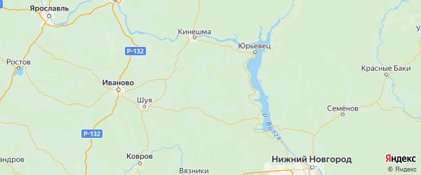 Карта Лухского района Ивановской области с городами и населенными пунктами