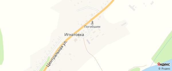Почтовая улица на карте деревни Игнатовки с номерами домов