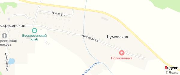 Широкая улица на карте Шумовской деревни Ивановской области с номерами домов