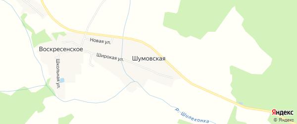 Карта Шумовской деревни в Ивановской области с улицами и номерами домов