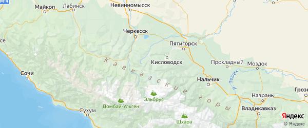 Карта Малокарачаевского района Республики Карачаево-Черкесии с городами и населенными пунктами