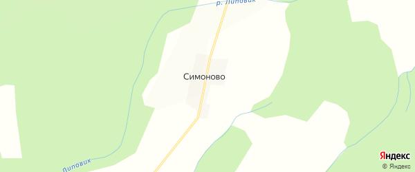 Карта деревни Симоново в Костромской области с улицами и номерами домов