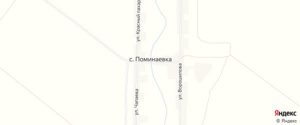 Карта села Поминаевки в Пензенской области с улицами и номерами домов