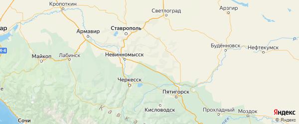 Карта Андроповского района Ставропольского края с городами и населенными пунктами