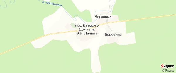 Карта поселка Детского Дома им В.И.Ленина в Костромской области с улицами и номерами домов
