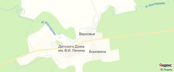 Карта села Верховья в Костромской области с улицами и номерами домов
