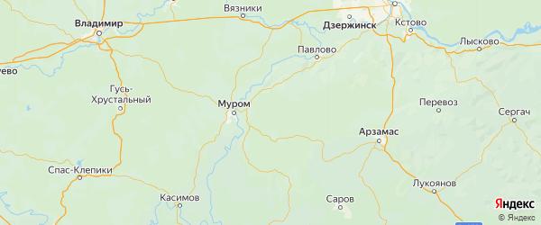 Карта Навашинский района Нижегородской области с городами и населенными пунктами
