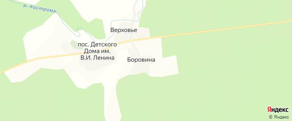 Карта деревни Боровины в Костромской области с улицами и номерами домов