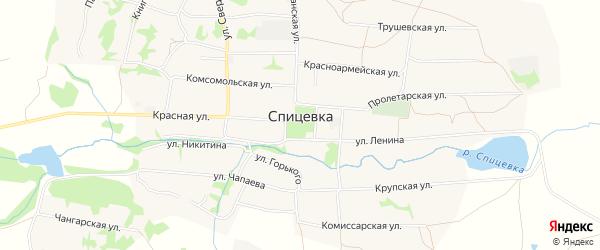 Карта села Спицевки в Ставропольском крае с улицами и номерами домов